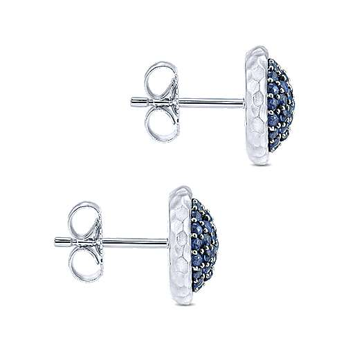 Gabriel & Co. 925 Sterling Silver Hammered Round Sapphire Pave Stud Earrings EG13000SVJSB