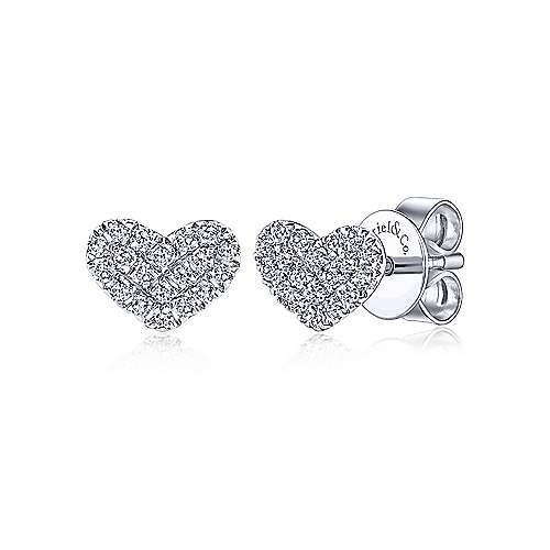 Gabriel & Co 14k White Gold 0.11ct Heart Stud Diamond Earrings EG13079W45JJ