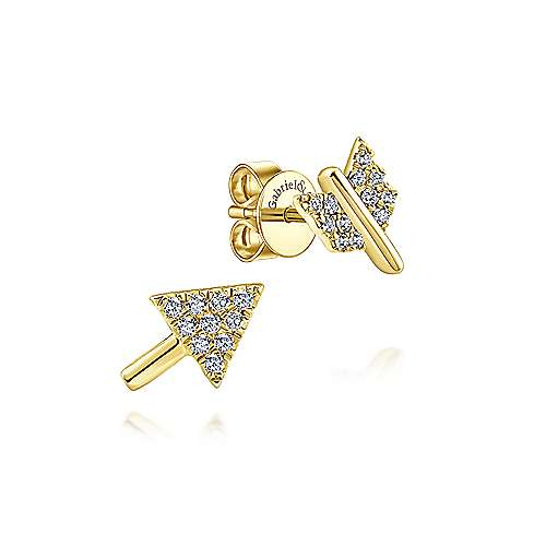 Gabriel & Co. 14k Yellow Gold Two Piece Arrow 0.09ct Diamond Stud Earrings EG13080Y45JJ
