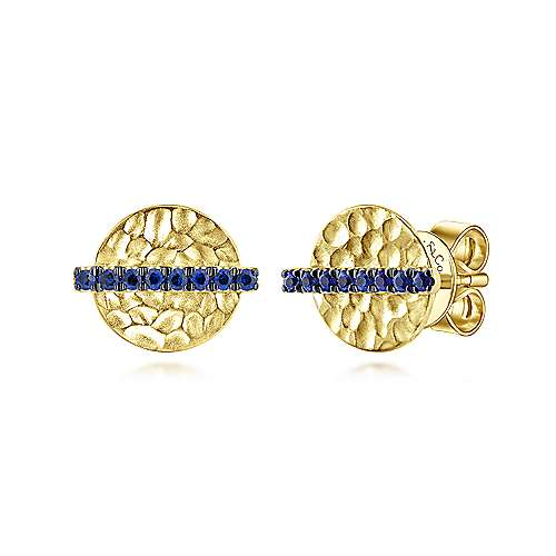Gabriel & Co. 14k Yellow Gold Hammered Disc Sapphire Bar Stud Earrings EG13100Y4JSA