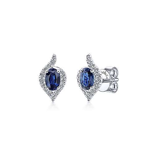 Gabriel & Co. 14k White Gold 0.22ct Diamond Halo Oval Cut Sapphire Stud Earrings EG13116W44SA