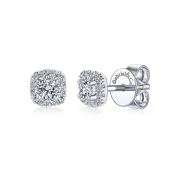 Gabriel & Co. 14k White Gold Cushion Halo Round Diamond Stud Earrings EG13215W45JJ