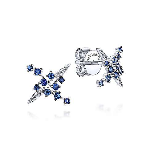 Gabriel & Co. 14k White Gold Modern Scattered Sapphire and 0.06ct Diamond Stud Earrings EG13238W45SA