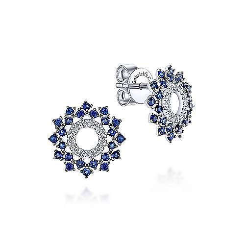Gabriel & Co. 14k White Gold Openwork 0.16ct Diamond and Sapphire Stud Earrings EG13239W45SA