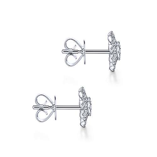Gabriel & Co. 14k White Gold Cushion Cut Starburst 0.46ct Diamond Stud Earrings EG13392W45JJ
