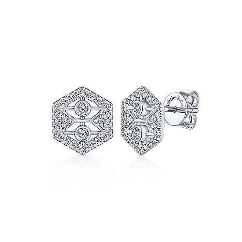 Gabriel & Co. 14k White Gold Hexagonal Open 0.34ct Diamond Stud Earrings EG13397W45JJ