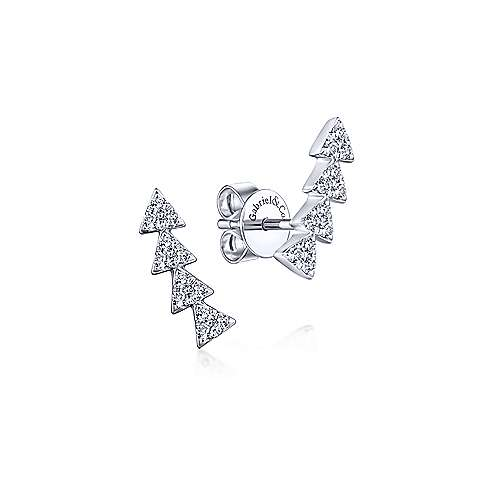 Gabriel & Co. 14k White Gold Stacked Triangle 0.25ct Diamond Stud Earrings EG13399W45JJ