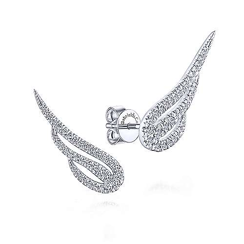 Gabriel & Co. 14k White Gold Angel Wing 0.44ct Diamond Stud Earrings EG13400W45JJ