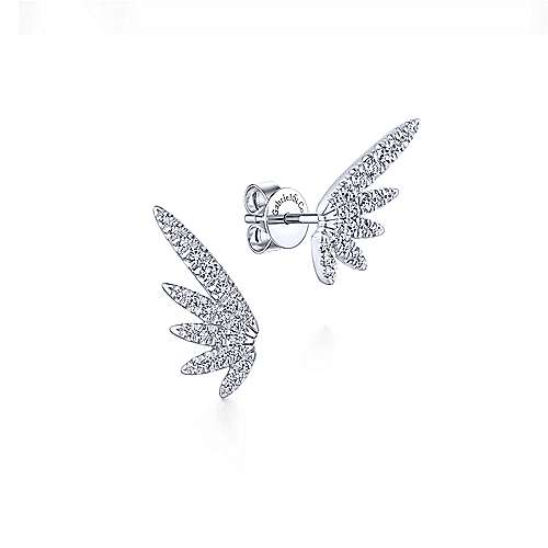 Gabriel & Co. 14k White Gold 0.37ct Diamond Wing Stud Earrings EG13405W45JJ