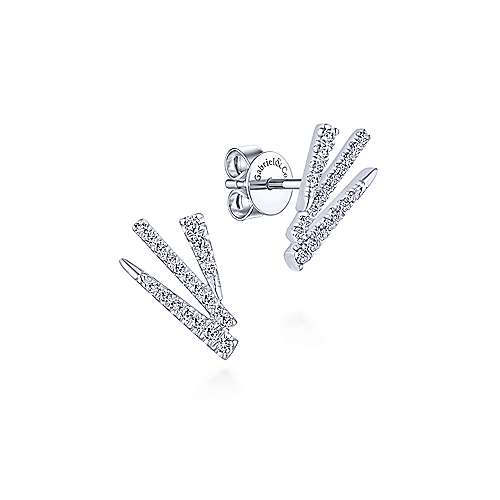Gabriel & Co. 14k White Gold Modern Fan Motif 0.23ct Diamond Stud Earrings EG13409W45JJ