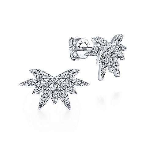 Gabriel & Co. 14k White Gold Firecracker 0.64ct Diamond Stud Earrings EG13411W45JJ