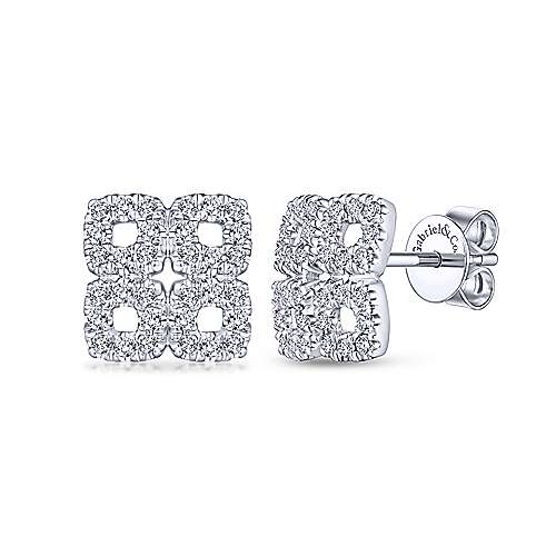 Gabriel & Co. 14k White Gold Four Square Pave 0.42ct Diamond Stud Earrings EG13489W45JJ