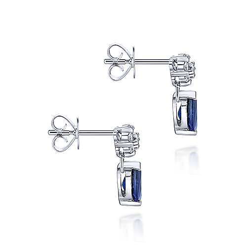 Gabriel & Co. 14k White Gold Floral 0.13ct Diamond Pear Shaped Sapphire Stud Earrings EG647W45SB