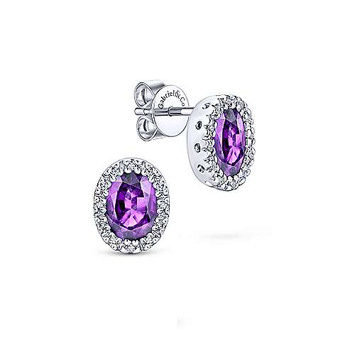 Gabriel & Co. 14k White Gold Oval 0.11ct Diamond Halo Amethyst Stud Earrings EG9284W44AM
