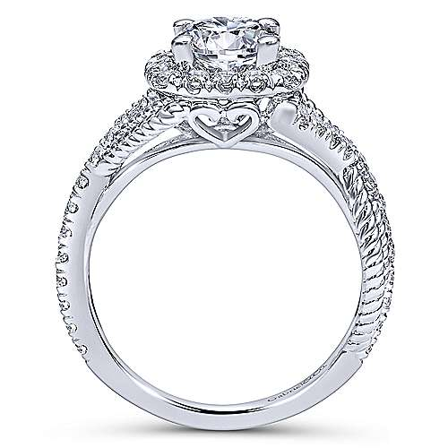 Gabriel & Co 14K White Gold Round Diamond Halo Engagement Ring ER10060W44JJ