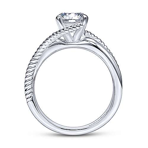 Gabriel & Co 14K White Gold Round Bypass Diamond Engagement Ring ER10201W4JJJ