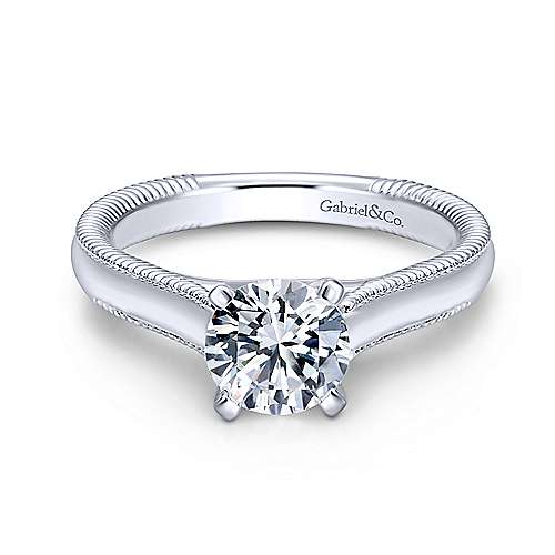 Gabriel & Co 14K White Gold Round Diamond Engagement Ring  ER10206W4JJJ