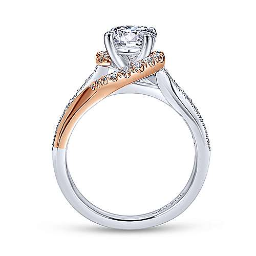Gabriel & Co 14K White Rose Gold Round Diamond Bypass Engagement Ring ER10297T44JJ