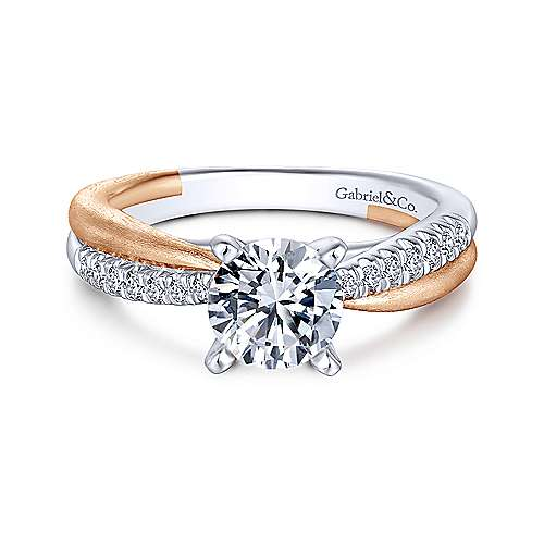 Gabriel & Co 14K White Rose Gold Round Diamond Criss Cross Engagement Ring ER10300T44JJ