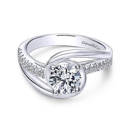 Gabriel & Co 14K White Gold Round Bypass Diamond Engagement Ring ER10309W44JJ