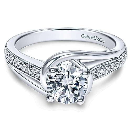 Gabriel & Co 14K White Gold Round Bypass Diamond Engagement Ring ER10313W44JJ