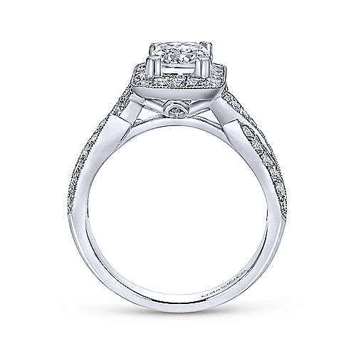 Gabriel & Co 14K White Gold Emerald Cut Diamond Halo Engagement Ring ER10747W44JJ