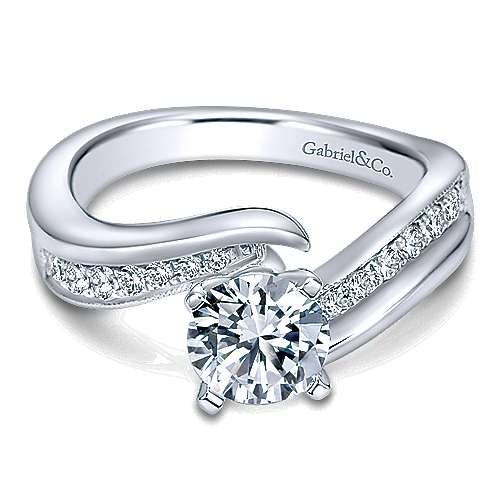 Gabriel & Co 14K White Gold Round Bypass Diamond Engagement Ring ER10793W44JJ