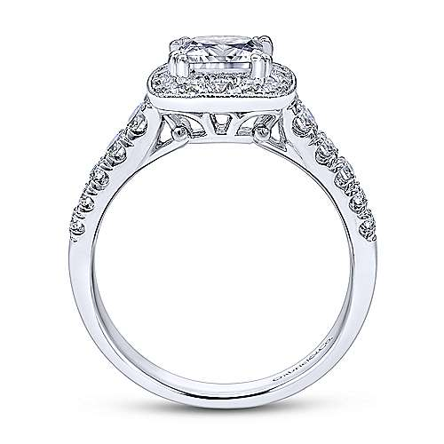 Gabriel & Co. Vintage 14k White Gold Princess Cut Halo ENGAGEMENT RING ER10907W44JJ