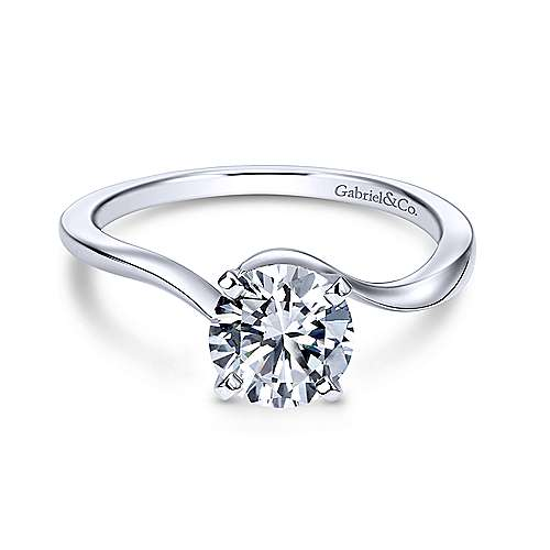 Gabriel & Co 14K White Gold Round Diamond Engagement Ring  ER11588R3W4JJJ