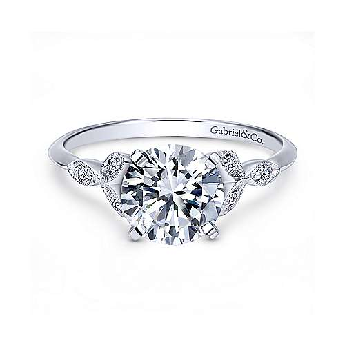 Gabriel & Co 14K White Gold Round Diamond Engagement Ring  ER11721R4W44JJ