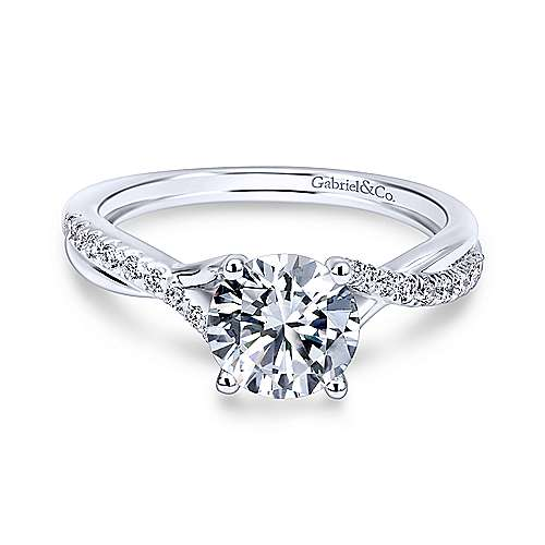 Gabriel & Co 14K White Gold Round Diamond Engagement Ring  ER11794R3W44JJ