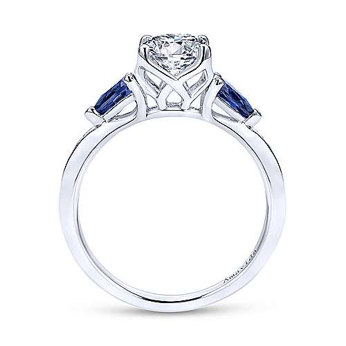 Gabriel & Co 18K White Gold Round Sapphire and Diamond Engagement Ring  ER11806R4W8JSA