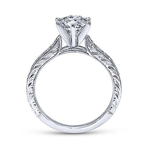 Gabriel & Co 14K White Gold Round Diamond Engagement Ring  ER11827R4W44JJ
