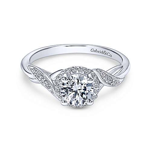 Gabriel & Co 14K White Gold Round Diamond Halo Engagement Ring ER11828R3W44JJ