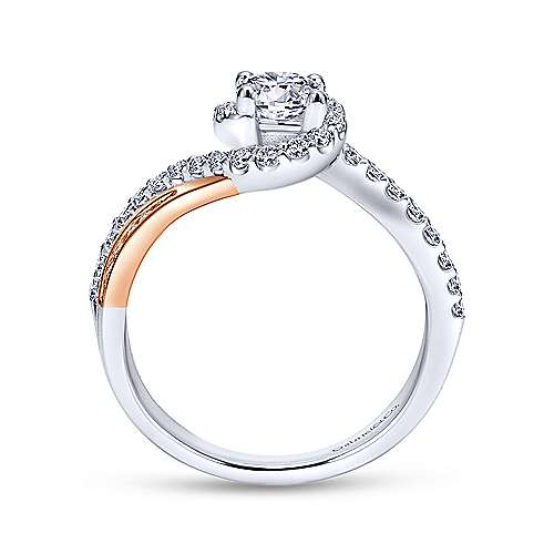 Gabriel & Co 14K White Rose Gold Round Bypass Diamond Engagement Ring ER11834R2T44JJ