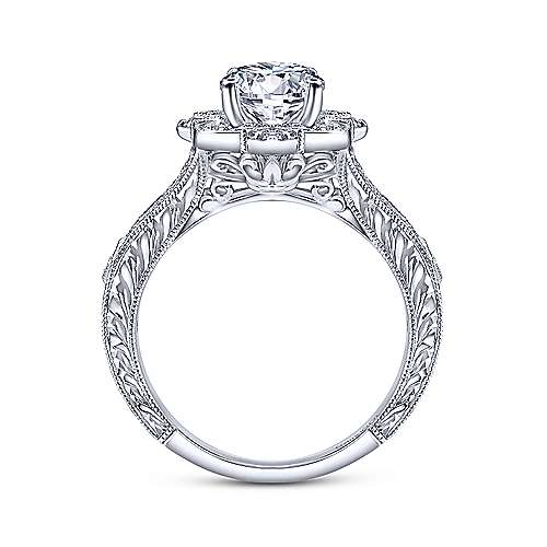 Gabriel & Co Vintage 14K White Gold Round Halo Diamond Engagement Ring  ER11963W44JJ