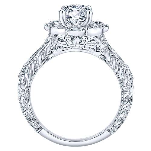 Gabriel & Co. Vintage 14k White Gold Round Halo ENGAGEMENT RING ER11963W44JJ