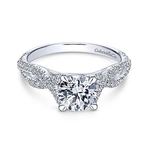 Gabriel & Co 14K White Gold Round Diamond Twisted Engagement Ring ER12003R4W44JJ