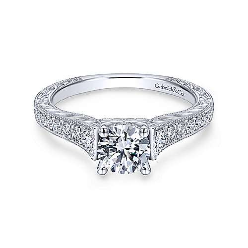 Gabriel & Co 14K White Gold Round Diamond Engagement Ring  ER12282R3W44JJ
