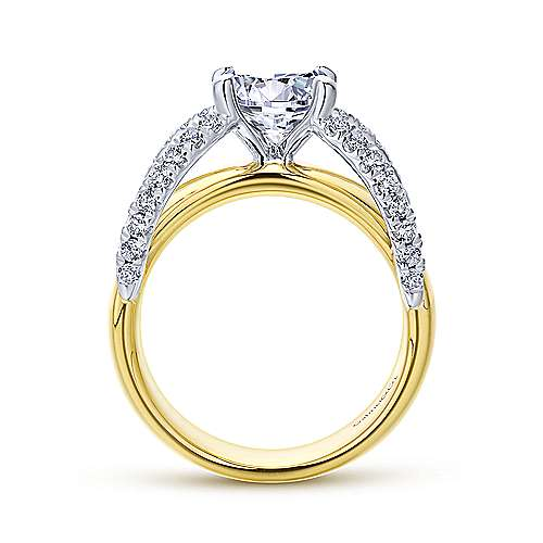 Gabriel & Co 14K White Yellow Gold Round Diamond Engagement Ring  ER12342R6M44JJ