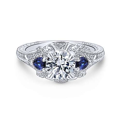 Gabriel & Co 14K White Gold Round Sapphire and Diamond Engagement Ring  ER12582R4W44SA