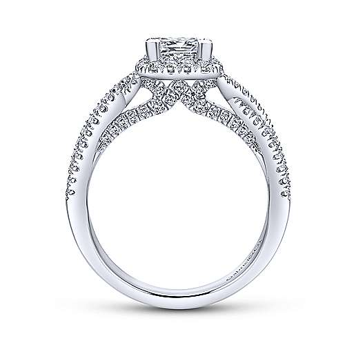 Gabriel & Co 14K White Gold Princess Halo Diamond Engagement Ring  ER12600S3W44JJ