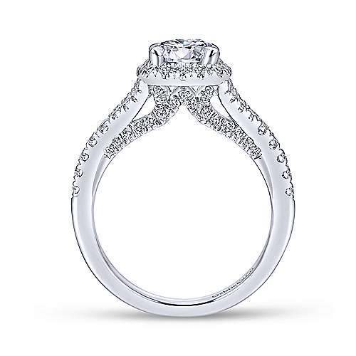 Gabriel & Co 14K White Gold Cushion Halo Round Diamond Engagement Ring  ER12623R4W44JJ
