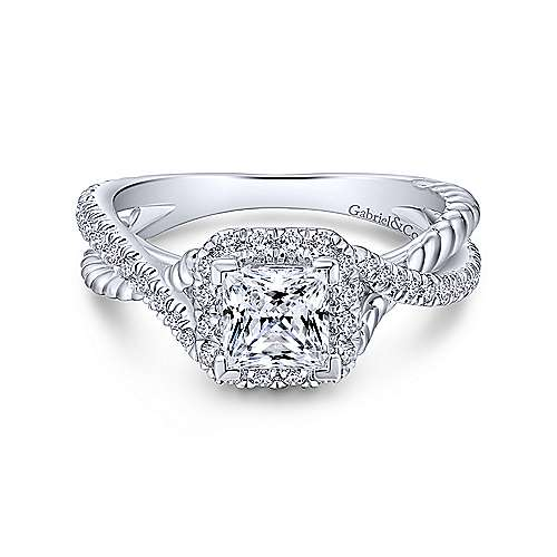 Gabriel & Co 14K White Gold Princess Cut Diamond Halo Engagement Ring ER12627S3W44JJ