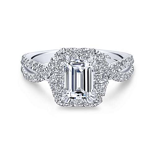 Gabriel & Co 14K White Gold Emerald Cut Diamond Halo Engagement Ring ER12636E4W44JJ