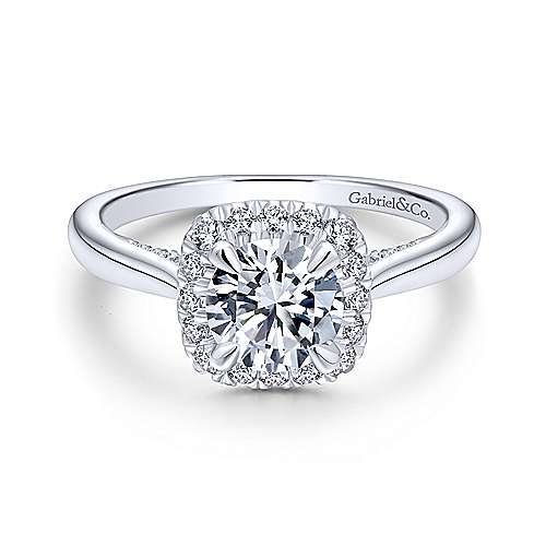 Gabriel & Co 14K White Gold Round Diamond Halo Engagement Ring ER12672R4W44JJ