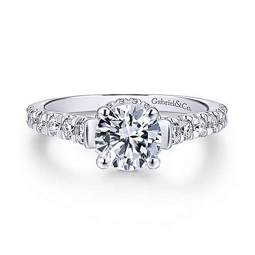 Gabriel & Co 14K White Gold Round Diamond Engagement Ring  ER12679R4W44JJ