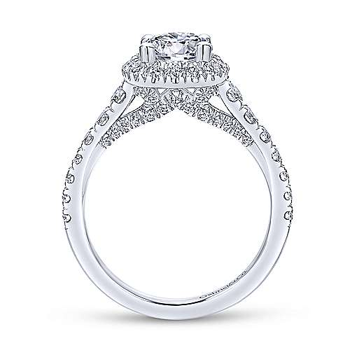 Gabriel & Co 14K White Gold Cushion Halo Round Diamond Engagement Ring  ER12761R4W44JJ