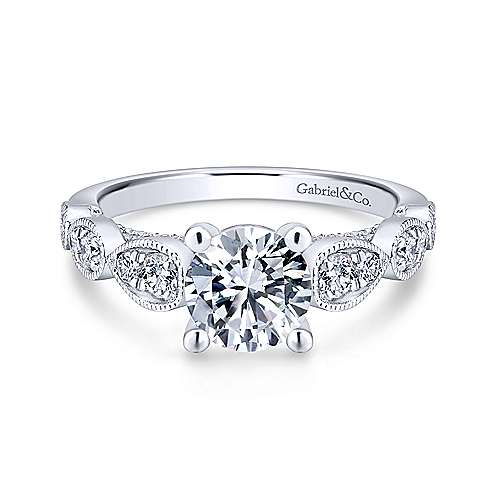 Gabriel & Co 14K White Gold Round Diamond Engagement Ring  ER12803R4W44JJ