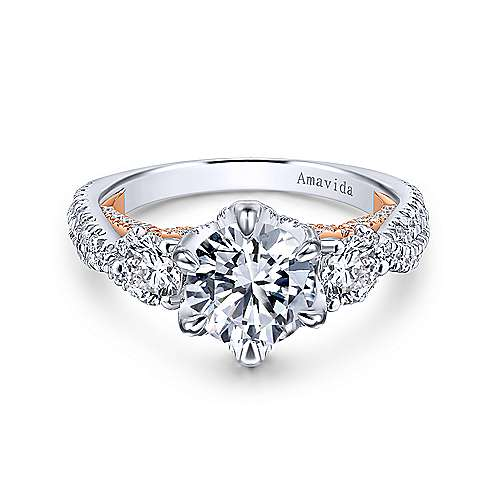 Gabriel & Co 18K White Rose Gold Round Diamond Engagement Ring  ER12847R6T83JJ